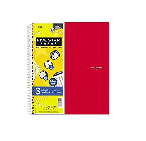 - 6 PACK-Of Five Star Wirebound 3-Subject 4-Pocket Notebook, College Ruled, 11X8-1/2, 150 Sheets (MEA06210)
