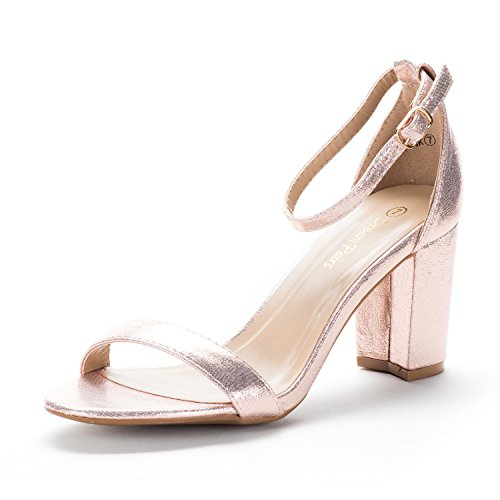 DREAM PAIRS Women's Chunk Champagne Low Heel Pump Sandals - 8.5 M US