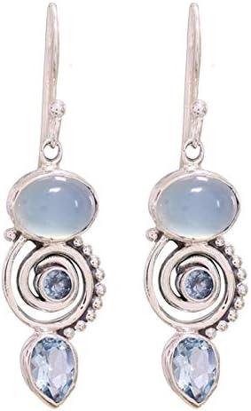 ESIVEL Pendientes de cristal azul marino Pendientes de piedra de circón azul plateado antiguo vintage para mujer Pendiente colgante en forma de pera bohemia