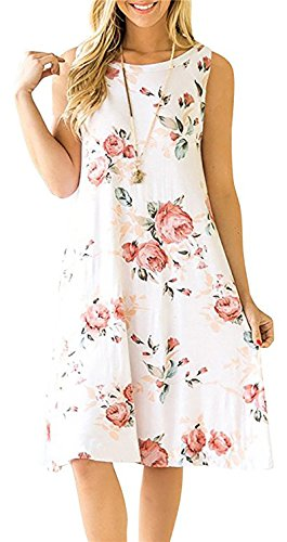 (YeeATZ Women's Summer Casual Sleeveless Floral Printed Swing Dress Sundress with Pockets White)