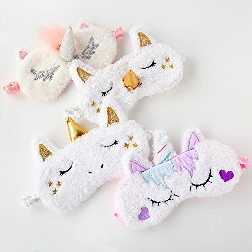 Astra Gourmet 4 Pack Soft Plush Unicorn Sleeping Mask - Cute Unicorn Horn Blindfold Eye Cover for Women Girls Travel Nap Night Sleeping ()