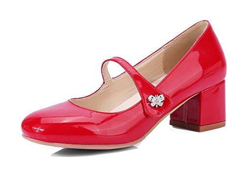 AllhqFashion Damen Blend-Materialien Quadratisch Zehe Mittler Absatz Ziehen auf Pumps Schuhe Rot