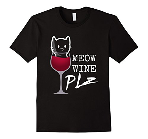 Mens Meow Wine PLZ ~ Kitty in a Glass ~ Cat t-Shirt Large...