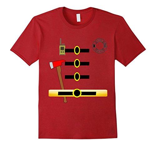 Men's Fireman Firefighter Uniform Halloween Costume T-Shirt Large Cranberry