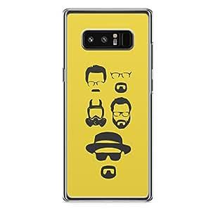 samsung Galaxy Note 8 Transparent Edge Breaking Bad Heisenberg silhouette Faces - sleek Design Rugged Favorite Phone Cover