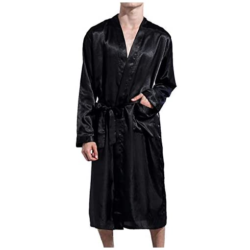 New Men Silk Satin Pajamas Kimono Bath Robe Dressing Loungewear Long Sleepwear