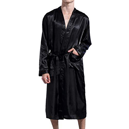 Lu#039s Chic Men#039 Satin Kimono Robe Silk Classic Long Bathrobe Pockets Lighweight Loungewear Black Large