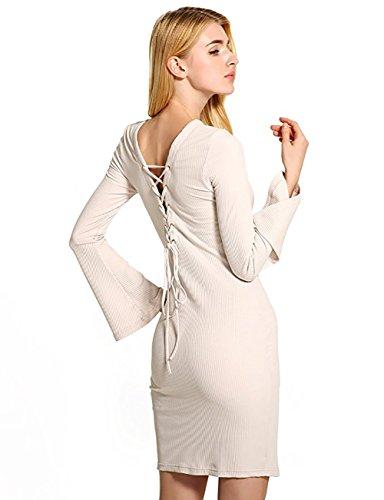 Wicky LS - Vestido - recto - para mujer Beige