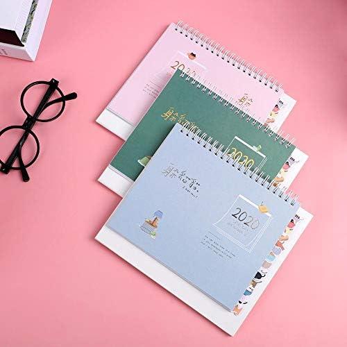 Tischkalender Kalendarien 2020 nette Karikatur-Tier Katze Kalender Tisch Coil Kalender DIY-Protokoll-Auflage DIY Planer Tagesablauf Schulbedarf (Color : Green)