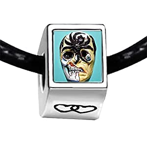 Chicforest Silver Plated scary Halloween spider monster mask Photo Double Heart Charm Beads Fits Pandora Bracelets