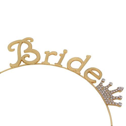 Rosemarie Collections Women's Bachelorette Party Tiara Headband Bride (Gold Tone)