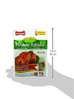 Nylabone Healthy Edibles Regular Chicken Flavored Dog Treat Bones with Vitamins, 6 Count