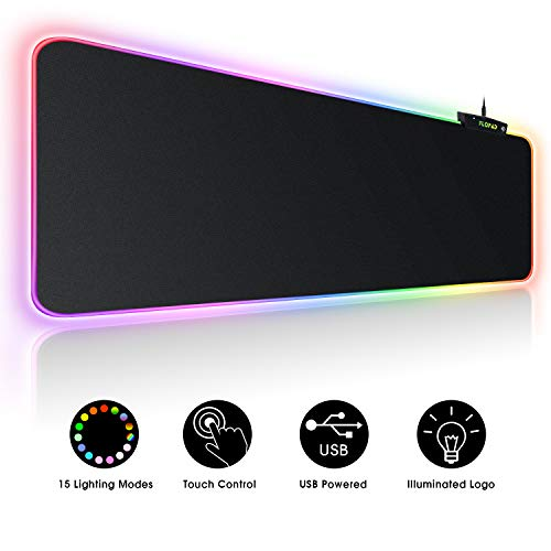 Large RGB Gaming Mouse Pad - 15 Light Modes Touch Control Extended Soft Computer Keyboard Mat