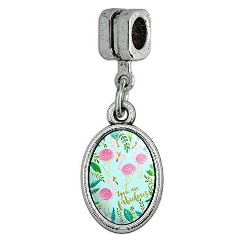 GRAPHICS & MORE You are Fabulous Flamingos Princesses Crowns Italian European Style Bracelet Oval Charm Bead