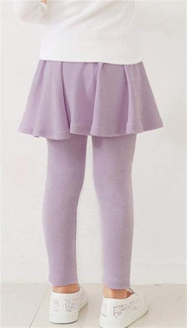 Macondoo Big Girls Stretch Fake Two Solid Comfort Culottes Tights Leggings Pants