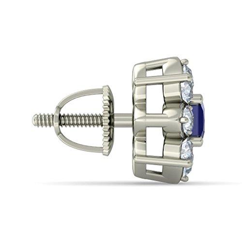 14K Or blanc 0,51carat au total Round-cut-diamond (IJ | SI) et bleu saphir Boucles d'oreille à tige