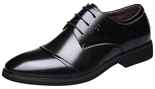 IDIFU Mens Fashion Round Toe Low Top Lace Up Oxfords Shoes With Heels Black mIgL4o0p4
