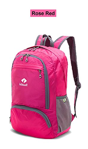 Lightweight Backpack Daypack, IdealTech Foldable Durable Packable Water Resistant Outdoor Travel Hiking Camping Biking (Rose Red)