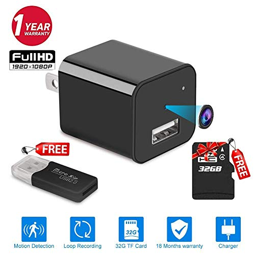 32GB -No WiFi Needed -2019 Version XJW Mini Spy Hidden Camera,1080P Portable Small HD Nanny Cam Charger Camera 1080P Motion Detection Wall Adapter Camera Loop Recording