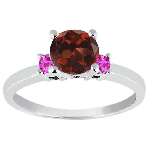 1.16 Ct Round Red Garnet Pink Sapphire 925 Sterling Silver Engagement (Garnet Pink Sapphire)