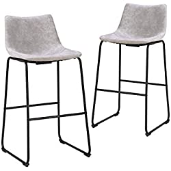 LCH 29 Inch Vintage Pub Bar Stools - Set of 2 Wear-Resistant Fabric Barstools with Durable Frame and Floor Protector, Grey