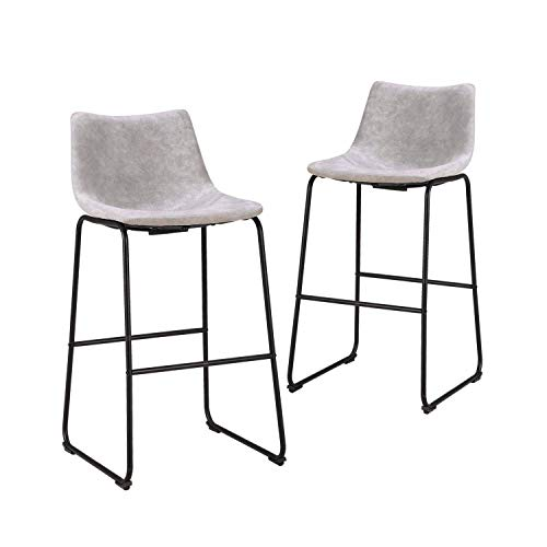 LCH 29 Inch Vintage Pub Bar Stools - Set of 2 Wear-Resistant Fabric Barstools with Durable Frame and Floor Protector, Grey ()