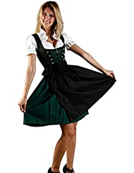 Bavarian Women's Midi Dirndl dress 3-pieces with apron and blouse black green
