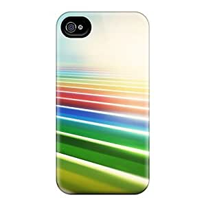 Defender Case For Iphone 4/4S Cover , Colorful Fields Pattern
