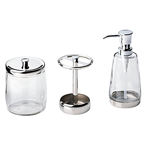 Delta 3-Piece Bathroom Countertop Accessory Kit in Polished Chrome, Soap Glass Dispenser, Toothbrush Holder, Glass Apothecary Jar