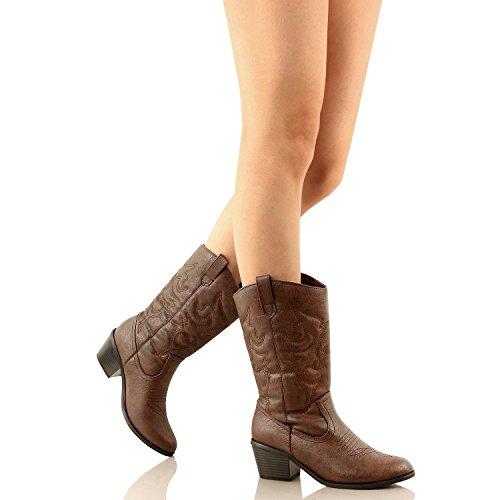 West Blvd - Miami - Cowboys Western Damen Stickerei Stitching Boots brauner Pu