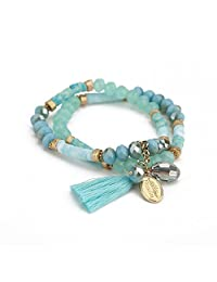 Niumike Hand-Made 2 Rows Crystal Strand Bracelets,Stretch Beaded Charm Bracelet,Free Flannel Bag