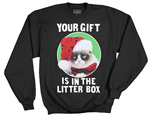 Price comparison product image Ripple Junction Grumpy Cat Your Gift Is In The Litter Box Adult Sweatshirt Medium Black