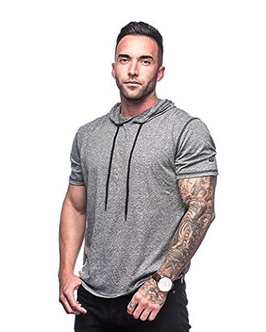 defWear Longline Side Zipper Pullover Hoodie T-Shirt, Short Sleeve, Muscle Contouring (L, Heather Grey, - Short Sleeve Zipper