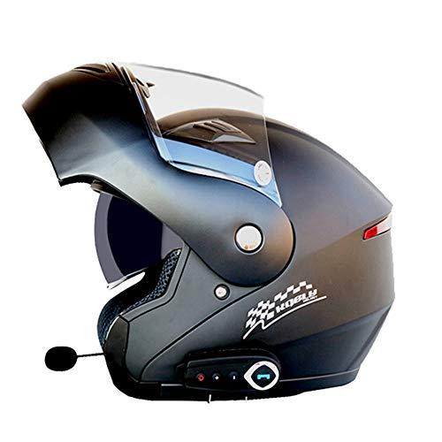 Erwachsene Bluetooth Motorradhelm Doppelobjektiv Anti-Fog Motorradhelme Motocross Helm mit FM Off-Road-Moto-Helmen