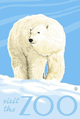 Polar Bear Solo - Visit the Zoo (9x12 Art Print, Wall Decor Travel Poster)
