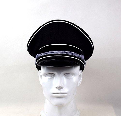 Replica WWII German Elite Officer Wool Hat Officer Cap Black (58cm)