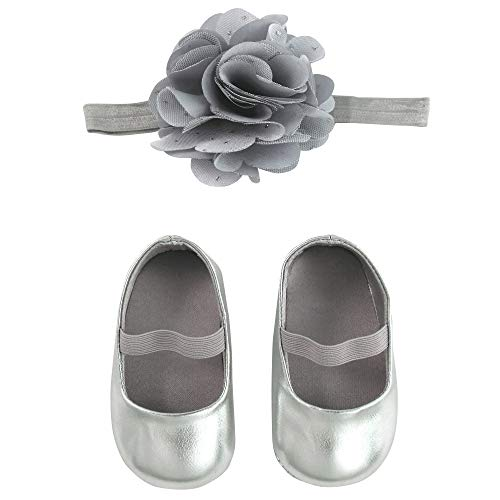 Rising Star Baby Girl's Shoes and Headband Gift Box Set, Silver Flower, 6-12 Months