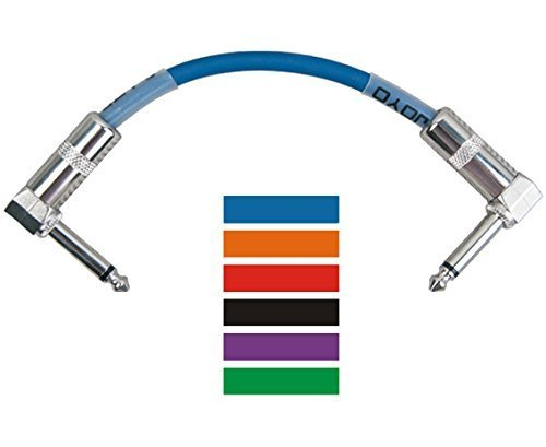 Professional Pack of six different colors, 0.65ft (20cm) Guitar - instrument Patch Cables (Right Angle) 6.3mm to 6.3mm - Can be used for Guitar Effects Pedals, Instruments, and More