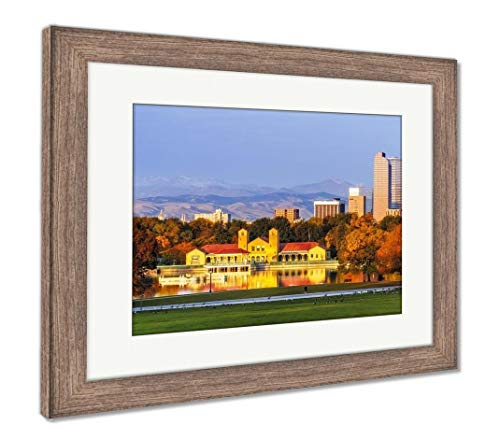 Ashley Framed Prints Denver Skyline in Fall from City Park, Wall Art Home Decoration, Color, 26x30 (Frame Size), Rustic Barn Wood Frame, AG5635261