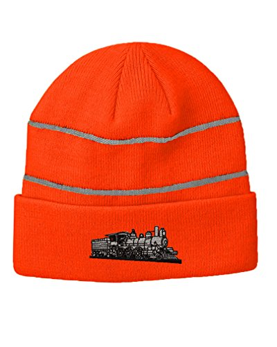 train-style-4-6-0-embroidery-design-acrylic-beanie-reflective-stripes-neon-orange