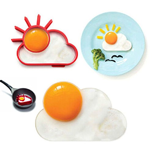 [Silicone Sunnyside Up Sun Egg Fried Frying Mould Fun Breakfast Pancake Ring PO N@N] (Eggshell Costume For Adults)