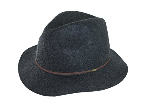Scala Crushable Wool (SCALA SAFARI WATER REPELLENT 100% WOOL FELT CRUSHABLE HAT CHARCOAL MIX (LARGE))