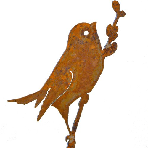 Bird on Willow Rusty Garden Sculpture