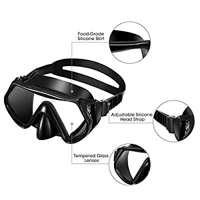 LBLA Snorkeling Package Set for Adults Snorkel Mask Set Free Breathing Anti-Fog Anti-Leak Panoramic Glass Diving mask Dry Top Snorkel Set Adult with Silicon Mouth Piece
