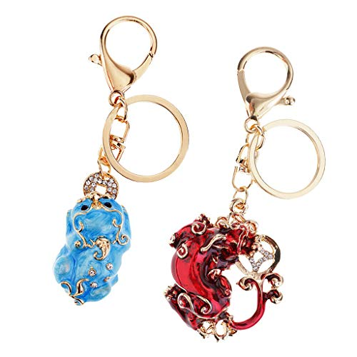 - NATFUR Pack of 2 Pi Yao Pi Xiu Fengshui Attract Wealth Prosperity Good Luck Elegant Pretty Novelty Key-Chain Cute for Men Pretty Novelty Great Lovely Beauteous Goodly