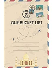 Our Bucket List: Romantic Traveling 100 wish lists template to write in for your journal, activities books for couple, fun and love travel planner, ... Minimalist craft vintage envelop mail cover