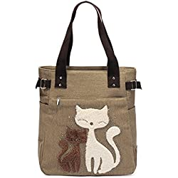 Kaukko Women's Canvas Lunch Bag with Cute Cat, Student Shoulder Bag, Khaki