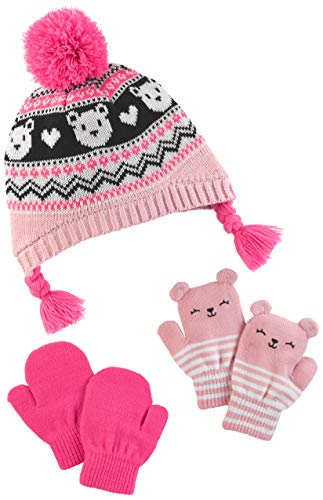 r's Baby Girls' Toddler Hat and Mitten Set, Pink Fairaisle, 2T-5T ()