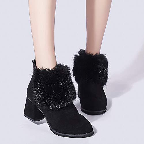 Stiefeletten Reißverschluss Schwarz Frauen Schuhe Martin Stil Boot ABsoar Damen Britische High Stiefel Heel Boots Behaarte Stiefel Wildleder Suede txTAZP8wq