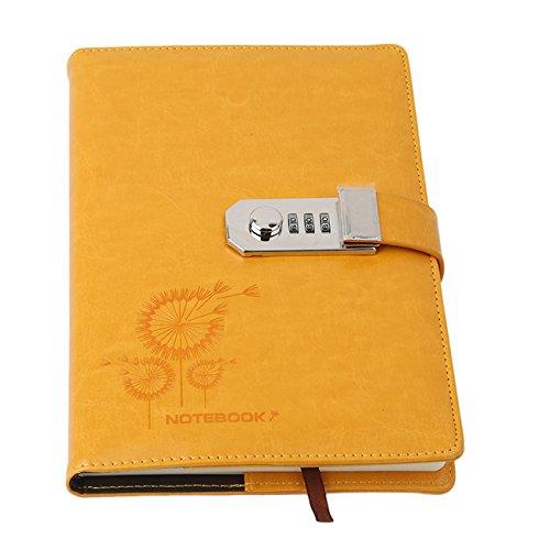 - Rurah Notebook Password Diary With Lock Creative Password Diary Student Handbook Notepad Locking Journal Personal Diary,yellow